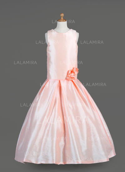 Delicate Scoop Neck A-Line/Princess Taffeta Flower Girl Dresses (010014651)