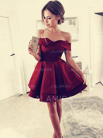 Ruffle A-Line/Princess Short/Mini Satin Homecoming Dresses (022216283)