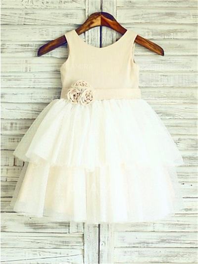 Scoop Neck A-Line/Princess Flower Girl Dresses Satin/Tulle Flower(s) Sleeveless Knee-length (010212008)