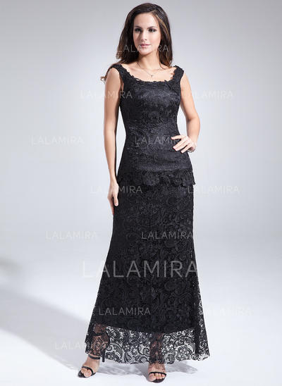 Sheath/Column Scoop Neck Lace Magnificent Mother of the Bride Dresses (008213095)