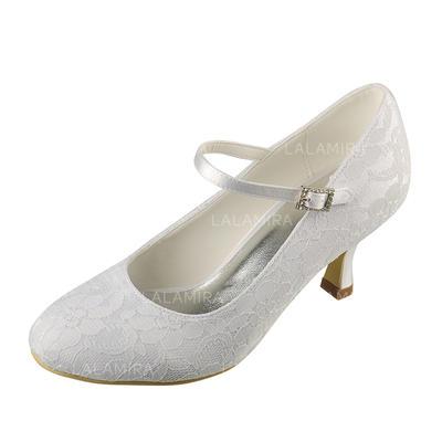 Women's Closed Toe Pumps Spool Heel Lace Satin Wedding Shoes (047206206)