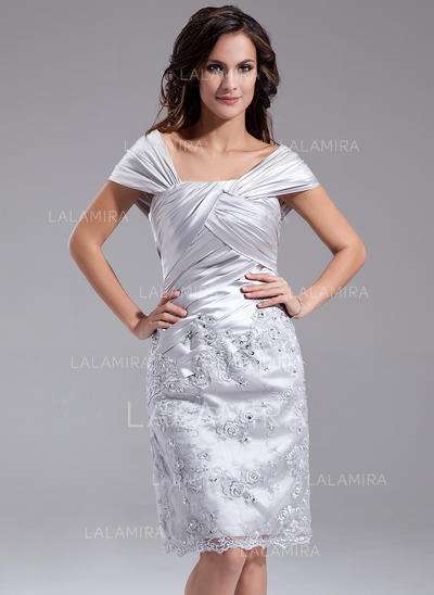 Sheath/Column Charmeuse Sleeveless Off-the-Shoulder Knee-Length Zipper Up Mother of the Bride Dresses (008211218)