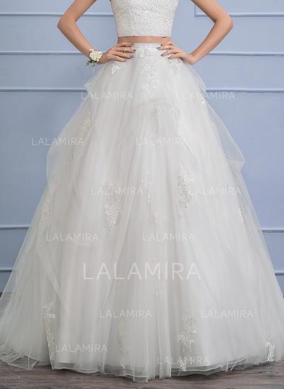 Apliques de Renda Babados em cascata - Tule Vestidos de noiva (002110491)