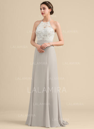Vestidos princesa/ Formato A Cabresto Sweep/Brush trem Tecido de seda Lantejoulas Vestido de madrinha com Curvado (007153349)