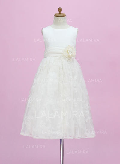 Chic Scoop Neck A-Line/Princess Satin/Lace Flower Girl Dresses (010005340)