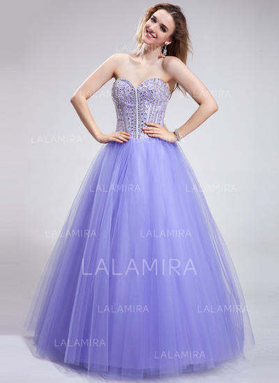 Tulle Princess Ball-Gown Floor-Length Prom Dresses (018025286)
