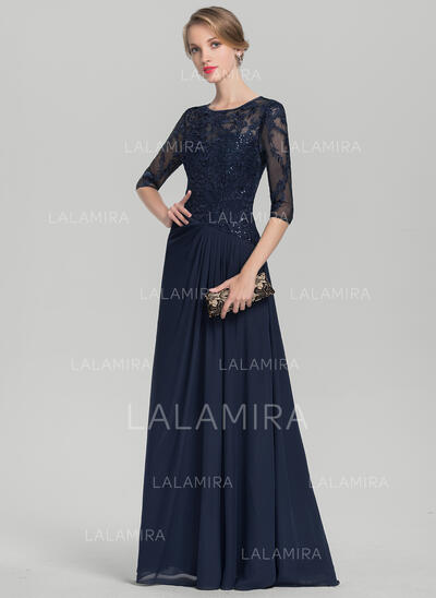 A-Line/Princess Scoop Neck Floor-Length Chiffon Lace Mother of the Bride Dress With Ruffle Sequins (008114252)