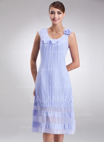 Moderno Hasta la rodilla Corte A/Princesa Gasa Vestidos de madrina (008211073)