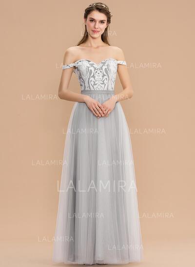 Corte A Off-the-ombro Longos Tule Renda Vestido de madrinha (007176733)