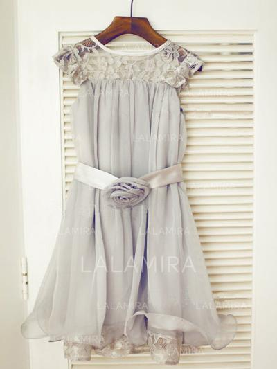 Scoop Neck A-Line/Princess Flower Girl Dresses Chiffon/Tulle/Lace Ruffles/Sash/Flower(s) Sleeveless Tea-length (010211829)