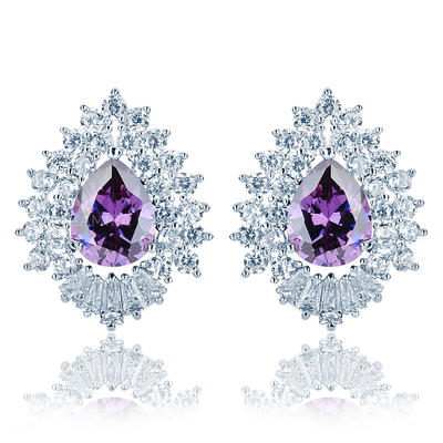 Earrings Zircon/Platinum Plated Pierced Ladies' Beautiful Wedding & Party Jewelry (011166735)
