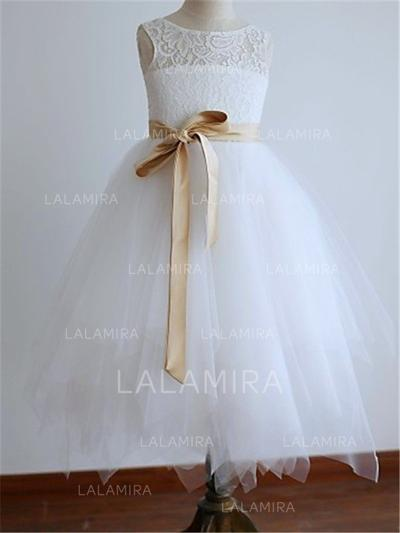 Scoop Neck A-Line/Princess Flower Girl Dresses Tulle Sash Sleeveless Tea-length (010211764)