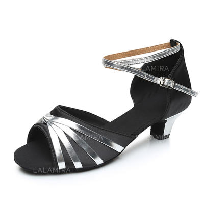 Women's Latin Heels Sandals Satin Leatherette With Ankle Strap Dance Shoes (053180481)
