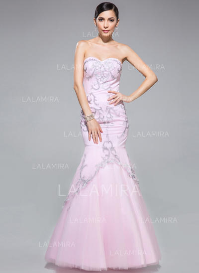Chic Trumpet/Mermaid Tulle Floor-Length Sleeveless Prom Dresses (018046236)