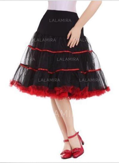 Bustle Knee-length Tulle Netting/Satin Half Slip 2 Tiers Petticoats (037190856)