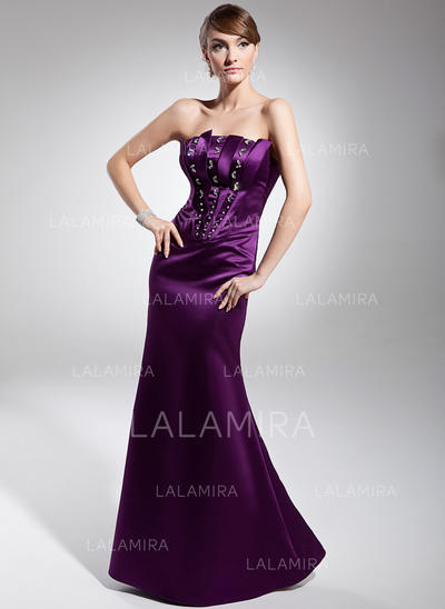 Glamorous Satin Trumpet/Mermaid Zipper Up Evening Dresses (017014673)