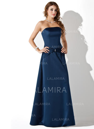 A-Line/Princess Strapless Ruffle Beading Satin Bridesmaid Dresses (007001806)
