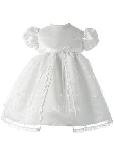 Satiné Col rond Dentelle Robes de baptême bébé fille avec Manches courtes (2001217389)