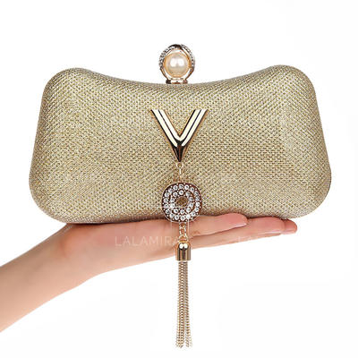 Clutches/Wristlets/Makeup Bags/Luxury Clutches Wedding/Ceremony & Party/Casual & Shopping/Office & Career PU Snap Closure Elegant Clutches & Evening Bags (012187878)