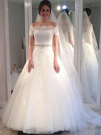 Sweep Train Ball-Gown Stunning Tulle Wedding Dresses (002210843)
