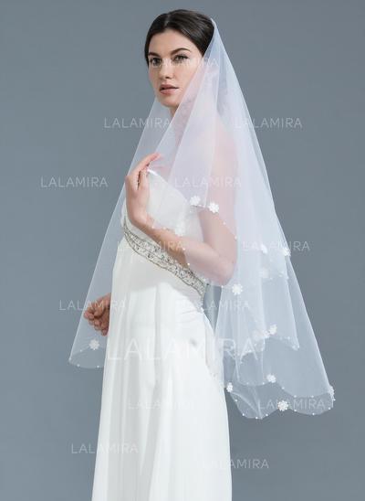Waltz Bridal Veils Tulle One-tier Classic With Beaded Edge Wedding Veils (006152155)