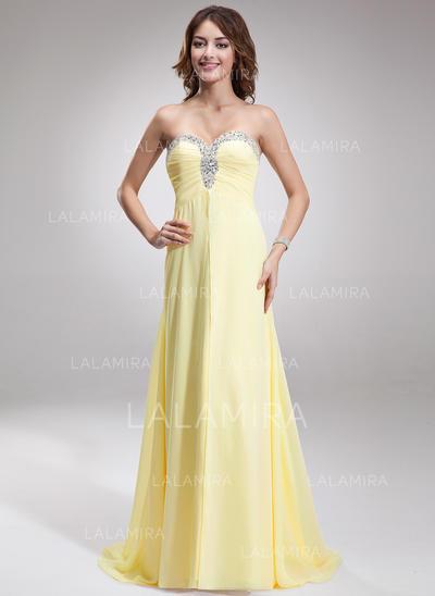 Corte A/Princesa Gasa Novio Sin mangas Vestidos de noche (017016879)