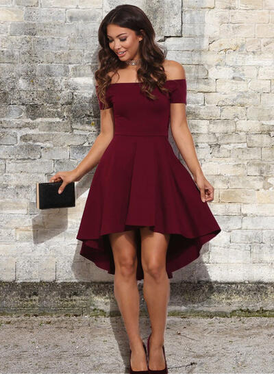 Newest Stretch Crepe Homecoming Dresses A-Line/Princess Asymmetrical Off-the-Shoulder Short Sleeves (022216389)