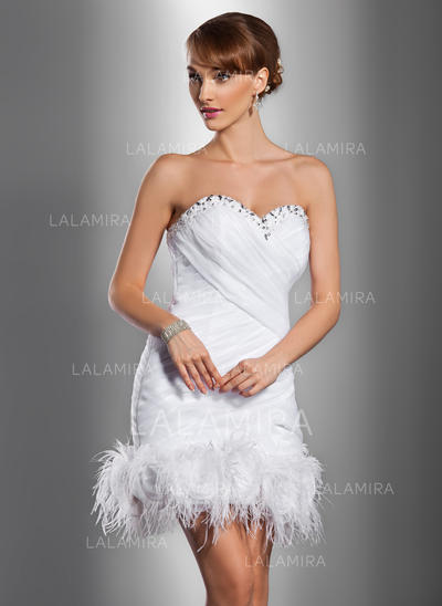 Satin Organza Sheath/Column Short/Mini Sweetheart Wedding Dresses (002211308)