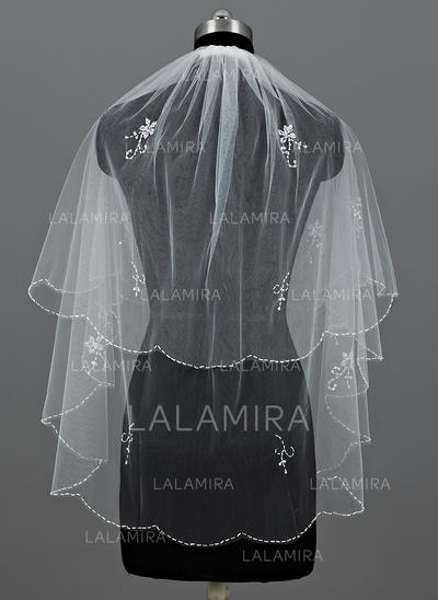 Elbow Bridal Veils Tulle Two-tier Classic With Beaded Edge Wedding Veils (006151363)
