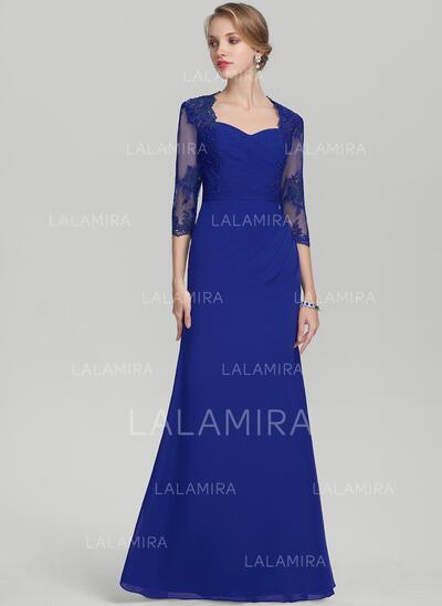 Sheath/Column Sweetheart Floor-Length Chiffon Lace Evening Dress With Ruffle (017144985)