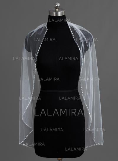 Yema del dedo velos de novia Tul Uno capa Estilo clásico con Con abalorios Velos de novia (006060193)