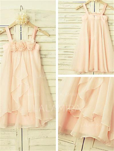 Scoop Neck A-Line/Princess Flower Girl Dresses Chiffon Ruffles Sleeveless Tea-length (010211862)