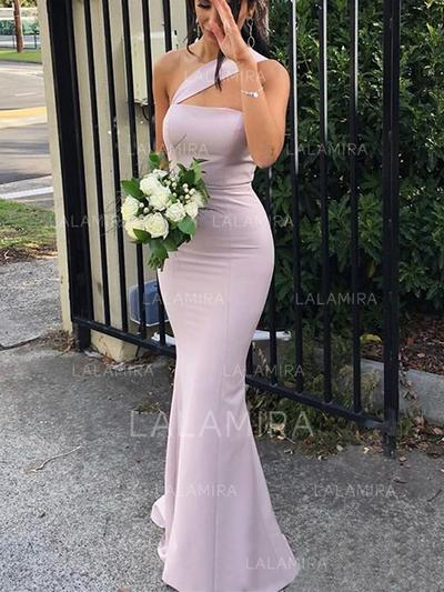 Sheath/Column One-Shoulder Floor-Length Bridesmaid Dresses (007219271)