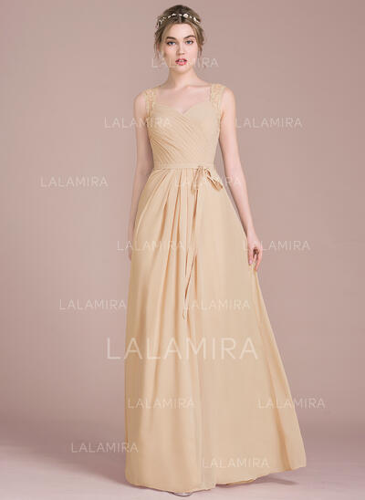 A-Line/Princess Sweetheart Floor-Length Chiffon Bridesmaid Dress With Ruffle Lace Beading Sequins Bow(s) (007104703)