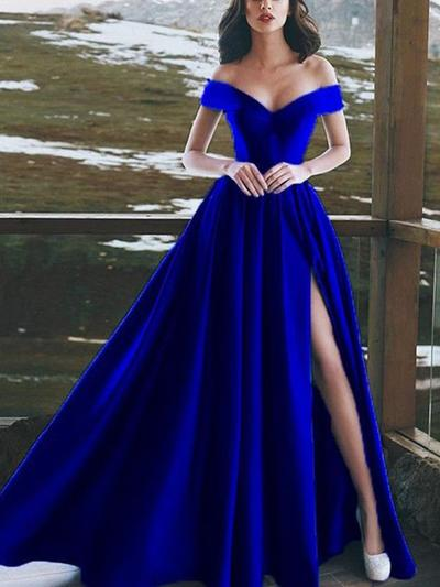 A-Line/Princess Off-the-Shoulder Floor-Length Prom Dresses With Ruffle Split Front (018218083)