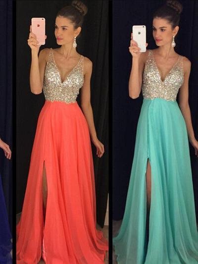 V-neck Beading A-Line/Princess Chiffon Prom Dresses (018210234)