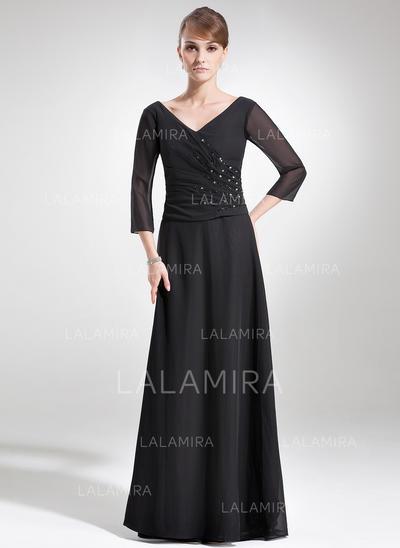 Halagador Gasa Escote en V Corte A/Princesa Vestidos de madrina (008006180)