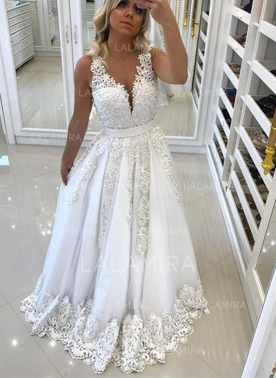 A-Line/Princess V-neck Sweep Train Prom Dresses With Lace Beading ...