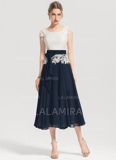 Forme Princesse Encolure carrée Longueur mollet Mousseline Robe de cocktail avec À ruban(s) (016154227)