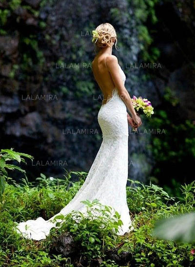 Spaghetti Straps Court Train Sheath/Column Lace Flattering Wedding Dresses (002146290)