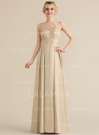 A-Line/Princess Scoop Neck Floor-Length Satin Lace Bridesmaid Dress With Bow(s) (007144761)