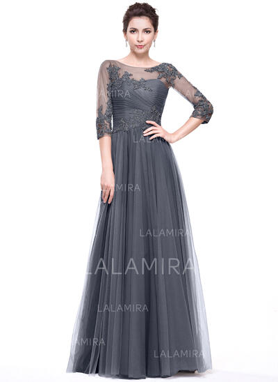 A-Line/Princess Scoop Neck Floor-Length Tulle Evening Dress With Ruffle Beading Appliques Lace Sequins (017065555)