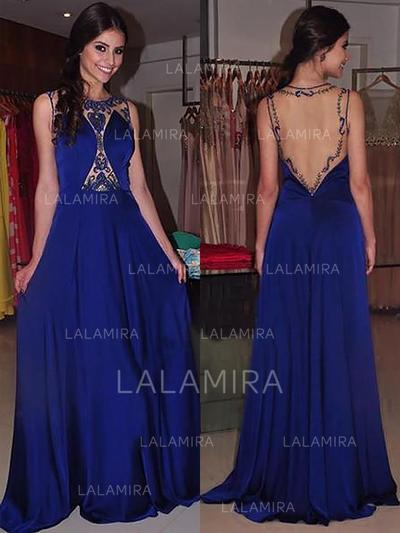 A-Line/Princess Scoop Neck Sweep Train Evening Dresses With Beading (017217030)