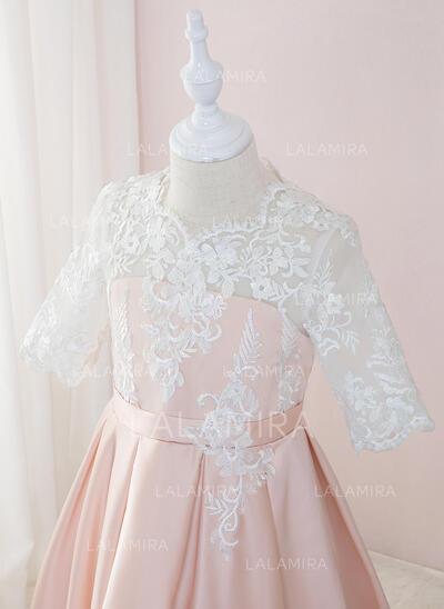 Robe Marquise/Princesse Longueur ras du sol Robes à Fleurs pour Filles - Satiné/Dentelle 1/2 manches Col rond (010195361)