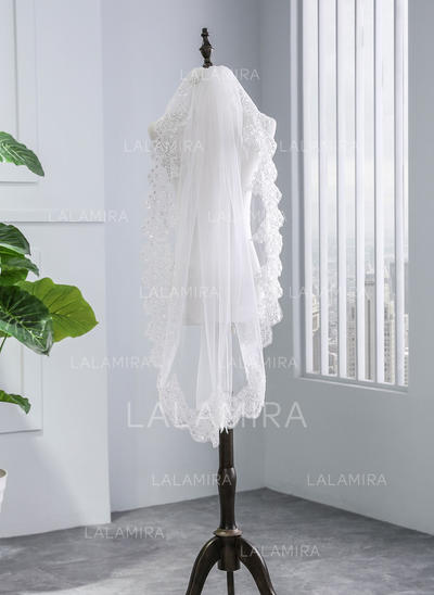 Elbow Bridal Veils Tulle One-tier With Lace Applique Edge With Lace Wedding Veils (006152514)