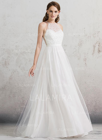 Longos Vestidos princesa/ Formato A Tule Princesa Vestidos de noiva Sem Mangas (002088486)