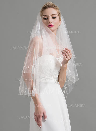 Elbow Bridal Veils Tulle Two-tier Classic With Lace Applique Edge Wedding Veils (006151938)