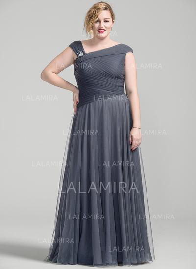 Forme Princesse Tulle Sans manches Longueur ras du sol Fermeture éclair Robes mère de la mariée (008077025)