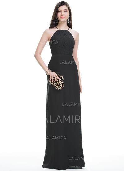 A-Line/Princess Scoop Neck Floor-Length Chiffon Prom Dresses (018113745)