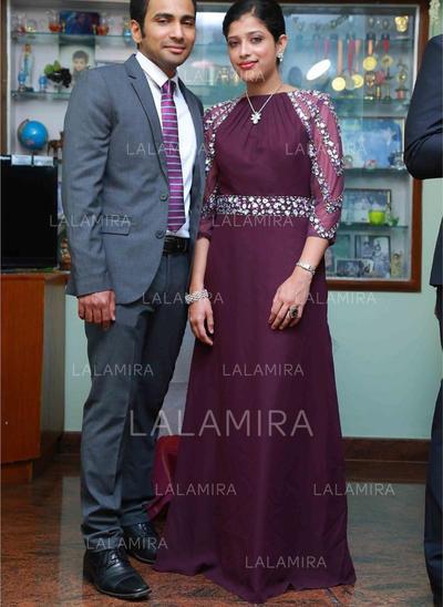 Vestidos princesa/ Formato A Decote redondo Tecido de seda Glamorouso Vestidos para a mãe da noiva (008212752)